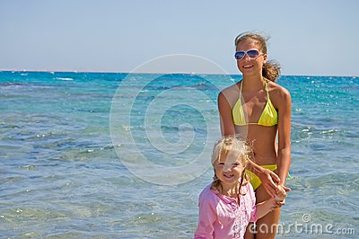 Two girls at the red sea