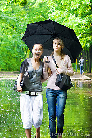 Free Two Girls Rejoice To Rainy Weather Royalty Free Stock Images - 5603889