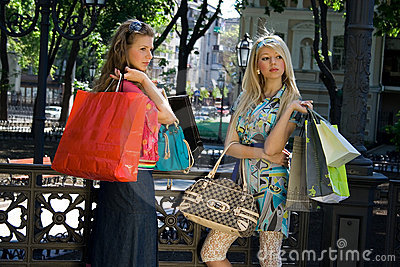 Two girls after shopping