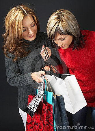 Two Girls with Shopping Bags