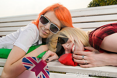 Two girls at the summer park