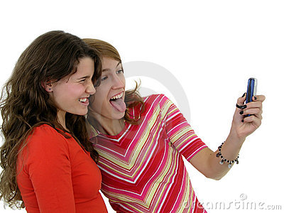 Two girls taking a photo of themselves