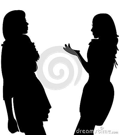 Two girls talking,