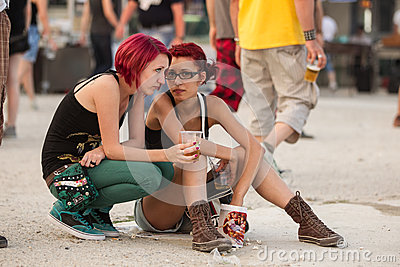 Two girls at Tuborg Green Fest Editorial Photography
