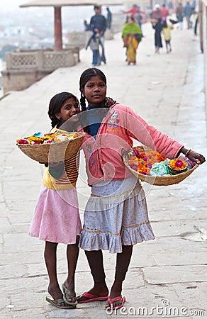 Two girls from Varanasi, India Editorial Image