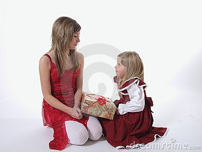 Two girls with Xmas present