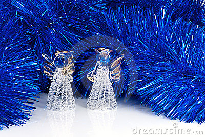 Two glass angel and Christmas tree