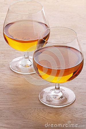 Two glass with brandy
