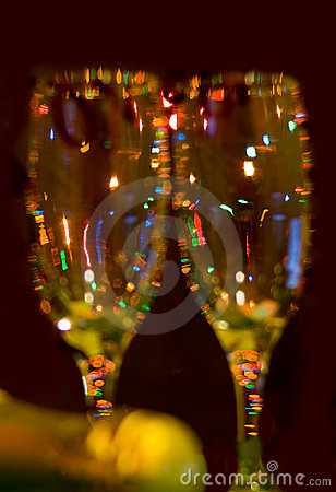 Two glasses of champagne. Closeup. Unfocused