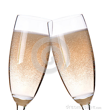 Two glasses of champagne flutes