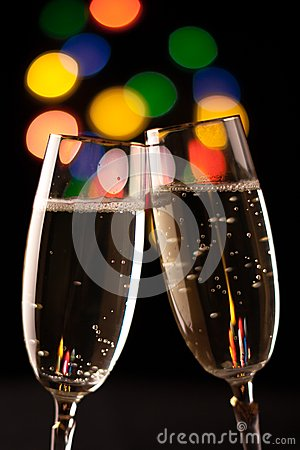 Free Two Glasses Of Champagne Royalty Free Stock Photography - 36049897