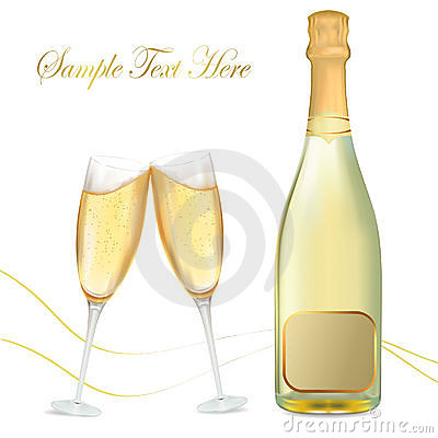 Free Two Glasses Of Champagne And Bottel. Stock Photography - 17457192