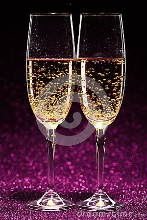 Free Two Glasses Of Champagne Ready For Christmas Celebration Stock Images - 47732534