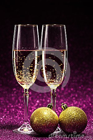 Free Two Glasses Of Champagne Ready For Christmas Celebration Stock Photography - 47732542