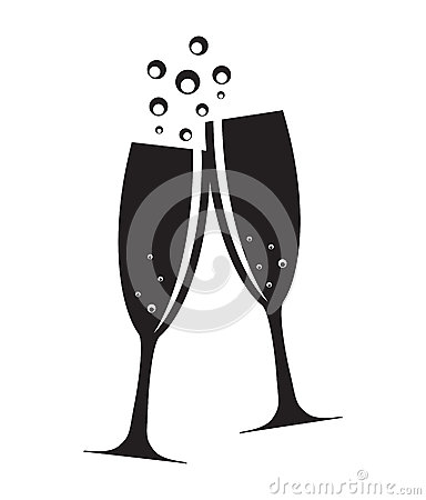 Free Two Glasses Of Champagne Silhouette Vector Stock Photo - 53679530