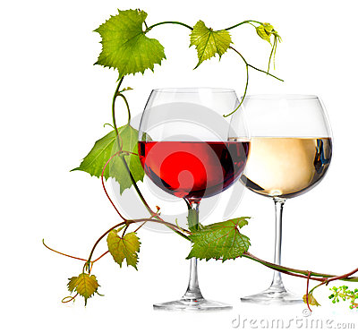 Free Two Glasses Of Red And White Wine Royalty Free Stock Images - 41215219