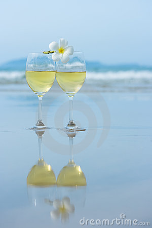Free Two Glasses Of White Wine Stock Images - 6046334
