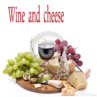 Free Two Glasses Of Wine, Grapes And Cheese Assortment Stock Image - 52449361