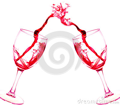 Two glasses of red wine abstract splash isolated on white