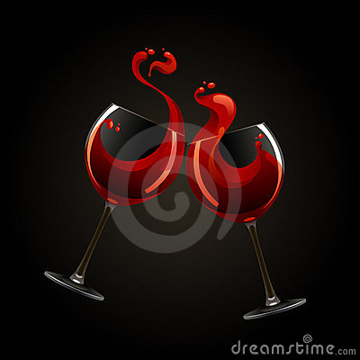 Two glasses of red wine with splash