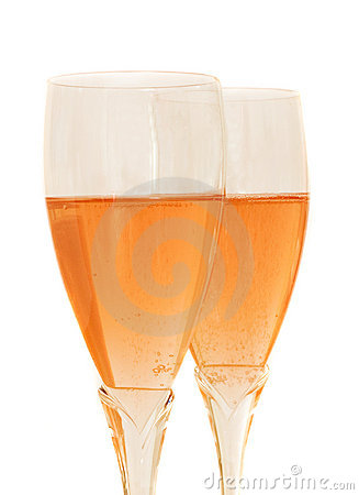 Two glasses with rose champagne