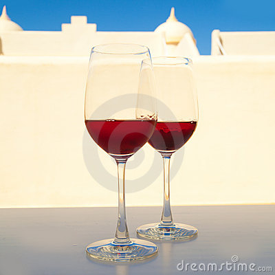Two glasses of very dark chilled rose,