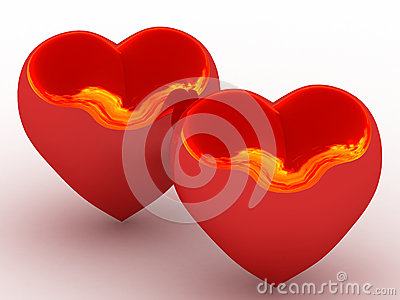 Two glowing red heart with the reflection of fire