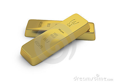 Two gold ingots or bullion on white background