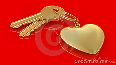 Two gold keys and heart