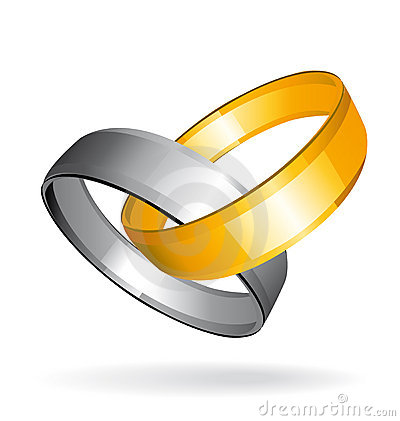 Two gold and silver wedding rings