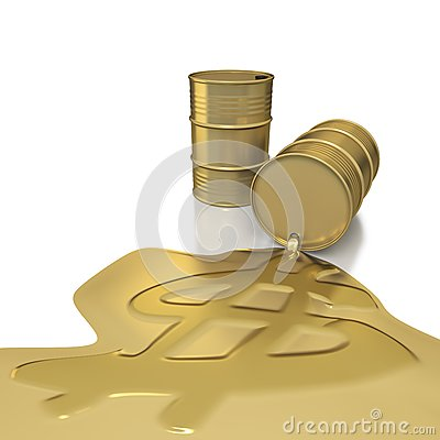 Two golden barrels with dollar embossed spill