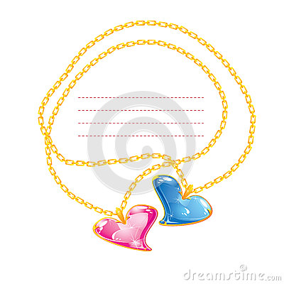 Free Two Golden Jewelry Chains With Heart Stock Photography - 28022722