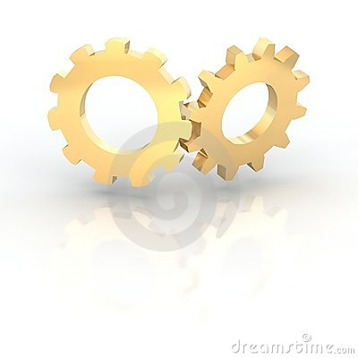Two golden shiny cogwheels