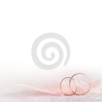 Free Two Golden Wedding Rings And  Feather -  Soft, White Stock Images - 46174444