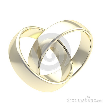 Two golden wedding rings isolated