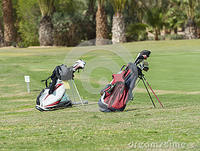 Two golf bags on a fairway