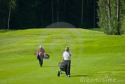 Two Golfer on golf feeld Editorial Stock Image
