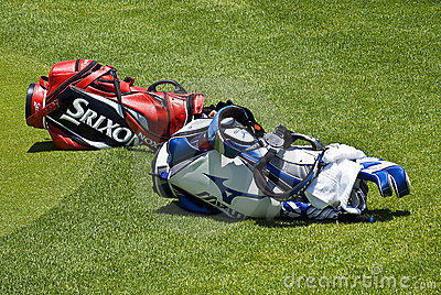 Two Golfers Club Bags Editorial Image