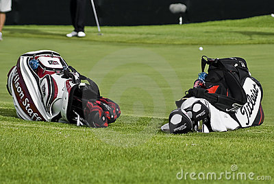 Two Golfers Club Bags Editorial Photo