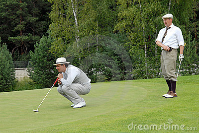 Two Golfers at Country Club Editorial Stock Image
