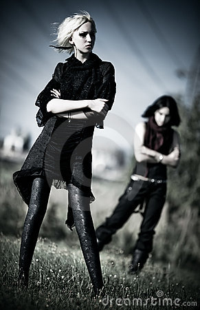 Two goth women outdoors