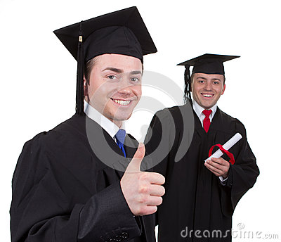 Two graduates with the first showing a thumbs up sign and the se