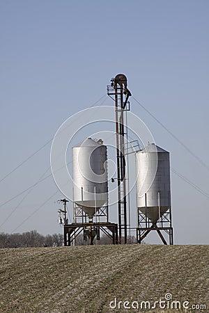 Two grain silos.