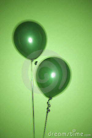 Two green balloons.