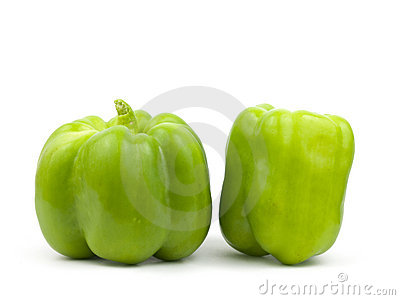 Two green bell peppers