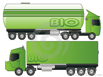 Two Green Biofuel Truck Transport Vector