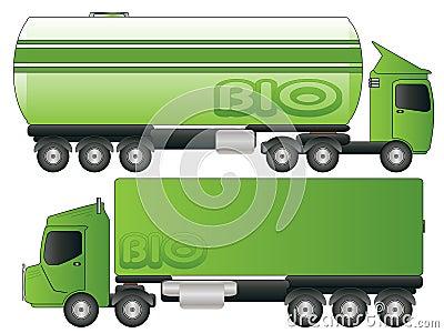 Two Green Biofuel Truck Transport Vector