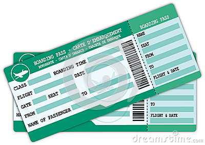Two green and blue boarding passes.
