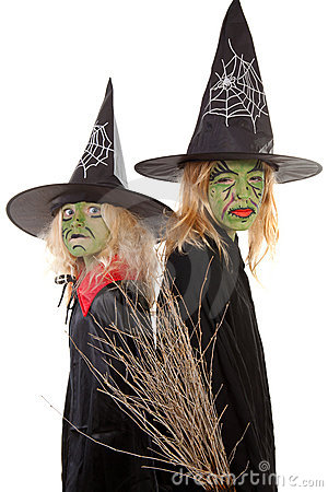Two green halloween witches
