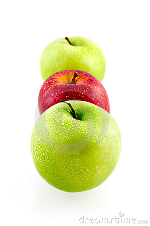 Two green and one red fresh apples
